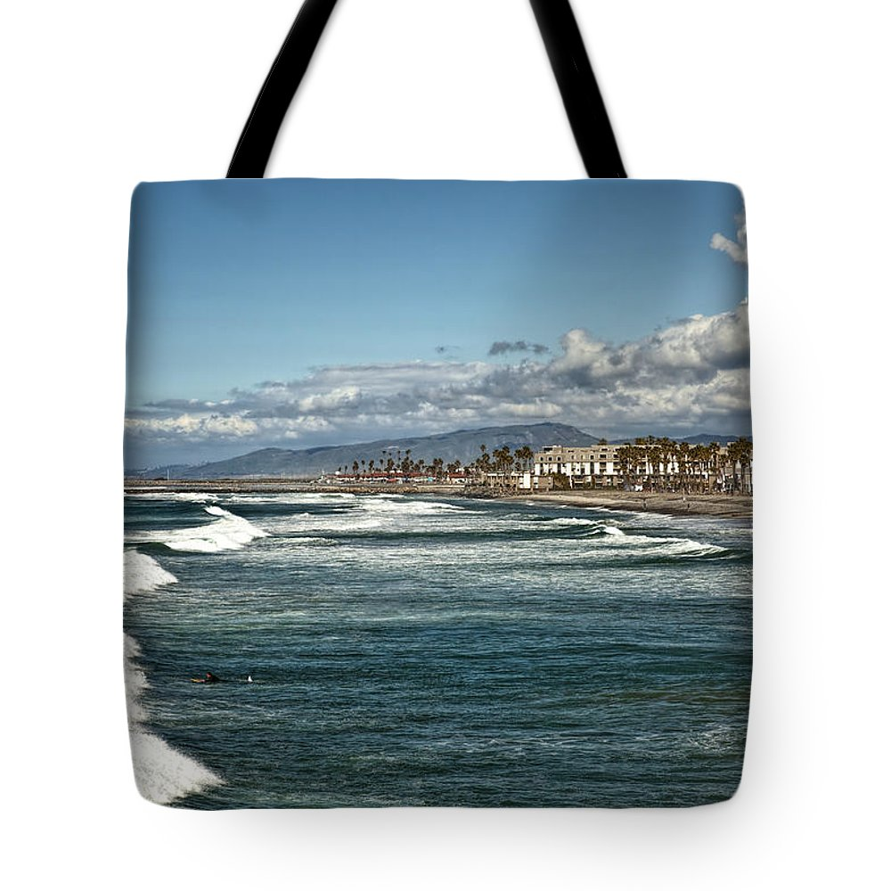 Oceanside Pier Tote Bag featuring the photograph Oceanside by Diana Powell