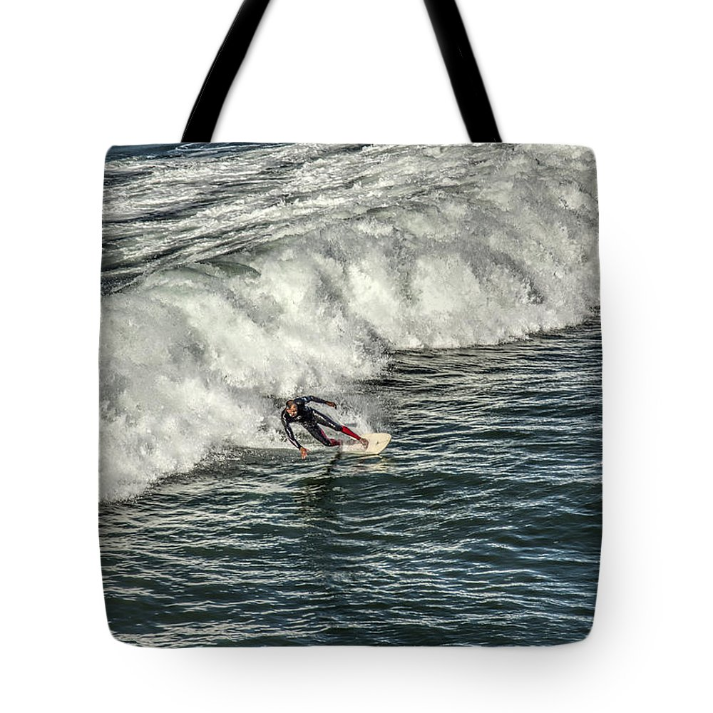 Carlsbad Tote Bag featuring the photograph Oceanside Surfer 3 by Diana Powell