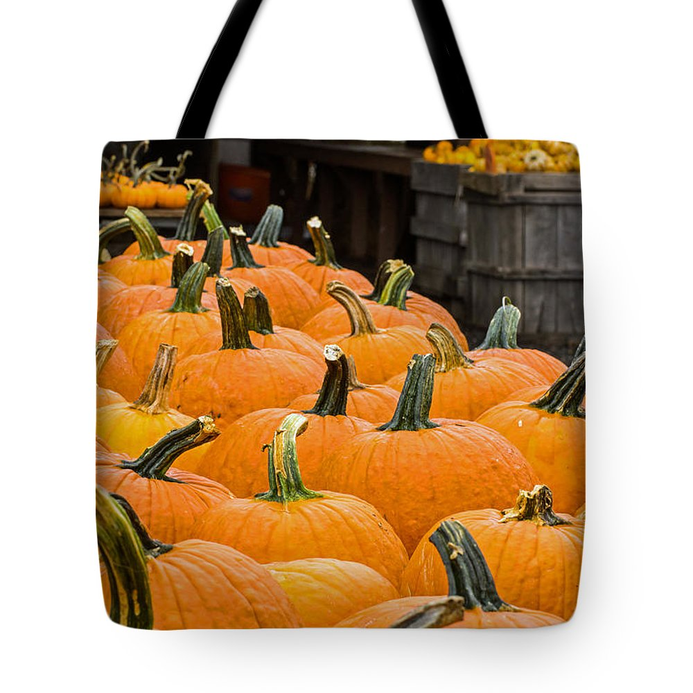 Pumpkin Tote Bag featuring the photograph October At The Farm - Pumpkins by Photographic Arts And Design Studio