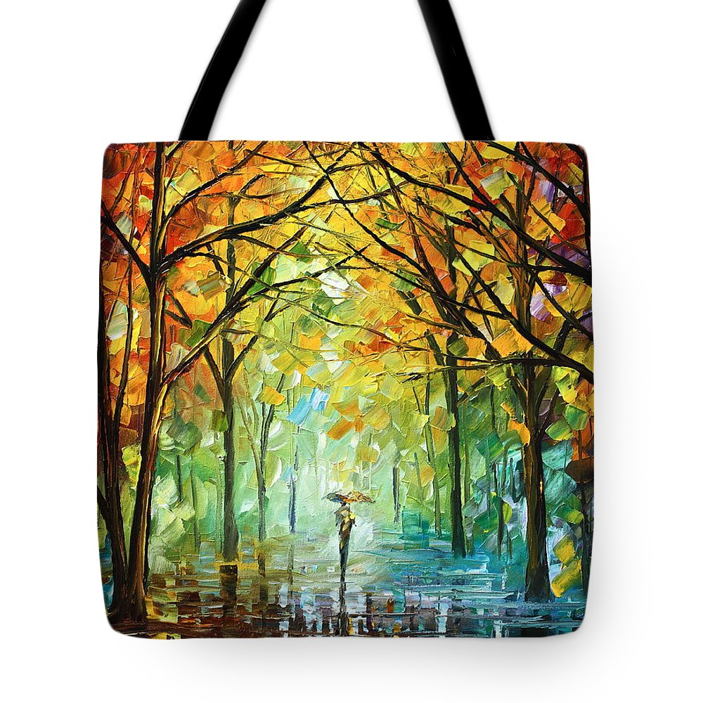 Forest Tote Bag featuring the painting October In The Forest by Leonid Afremov