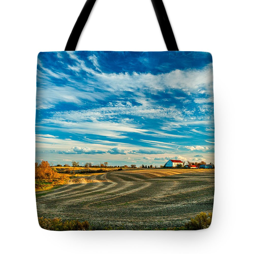 Landscape Tote Bag featuring the photograph October Patterns by Steve Harrington