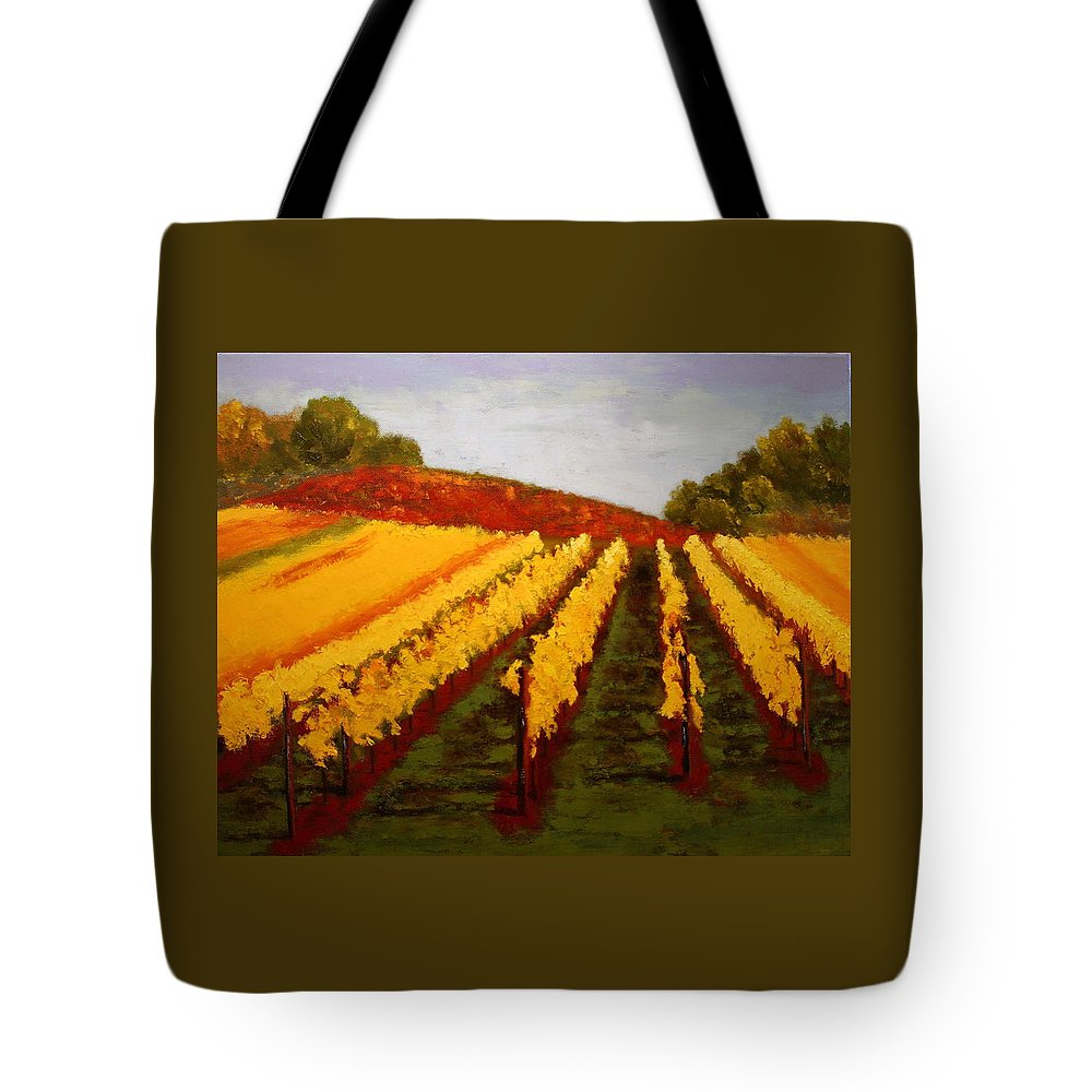 Landscape Tote Bag featuring the painting October Vineyard by Nancy Jolley