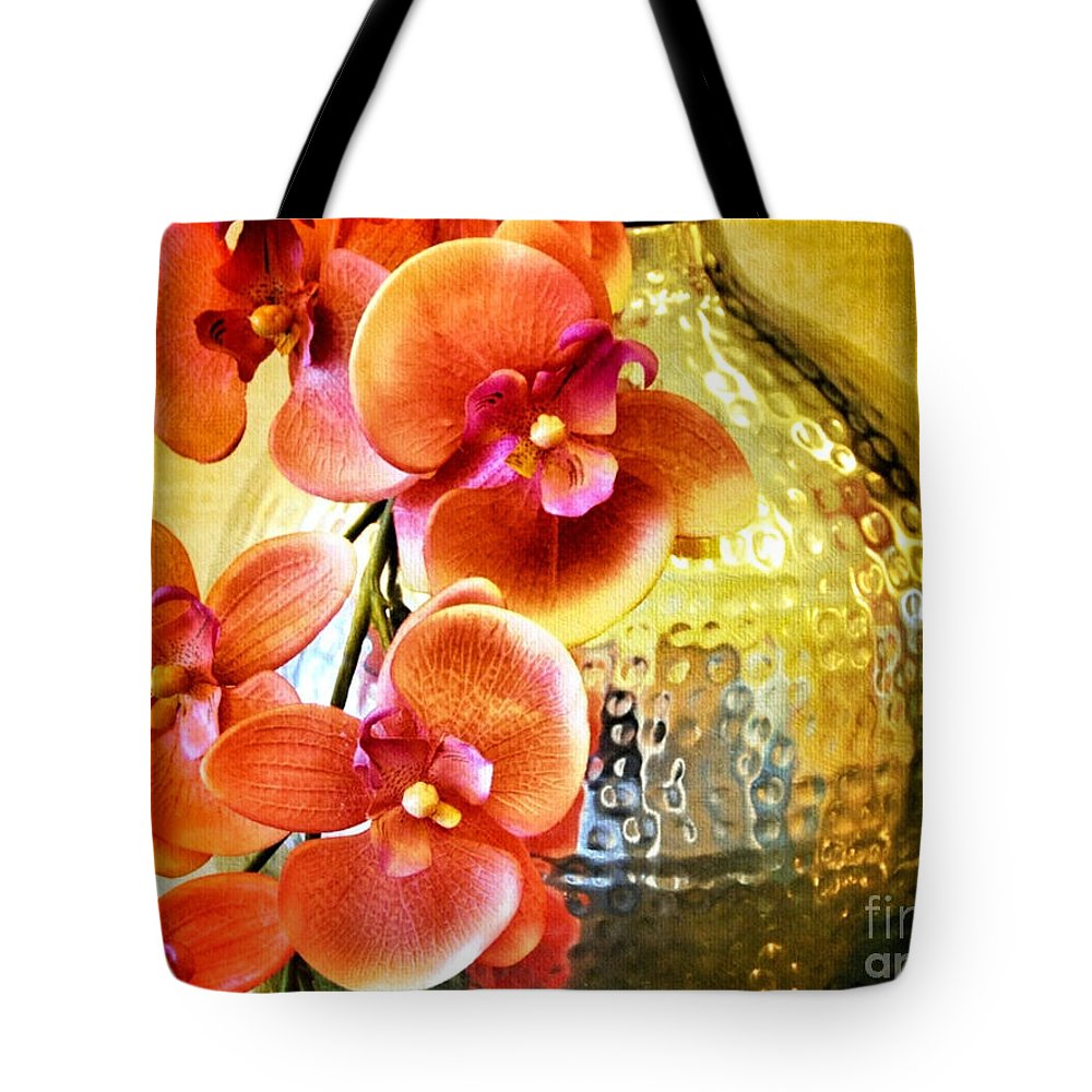 October's Orchids Tote Bag featuring the digital art October's Orchids by Darla Wood