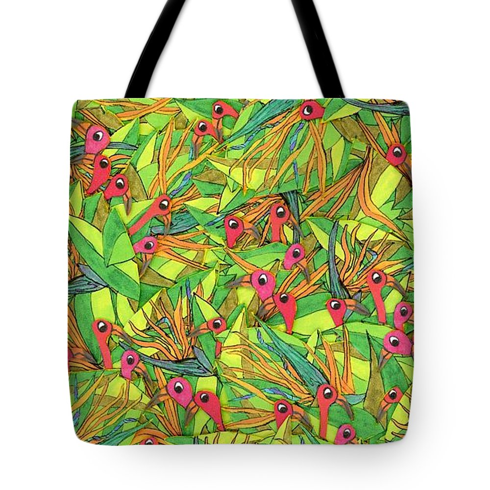 Birds Tote Bag featuring the painting Odd Birds Of Paradise by Maggie Pringle