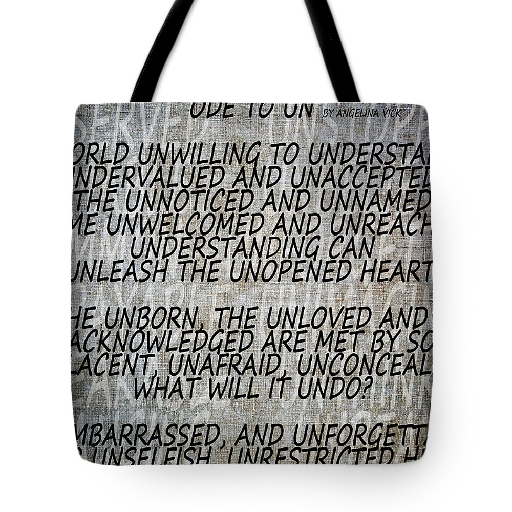 Texture Tote Bag featuring the mixed media Ode To Un by Angelina Vick