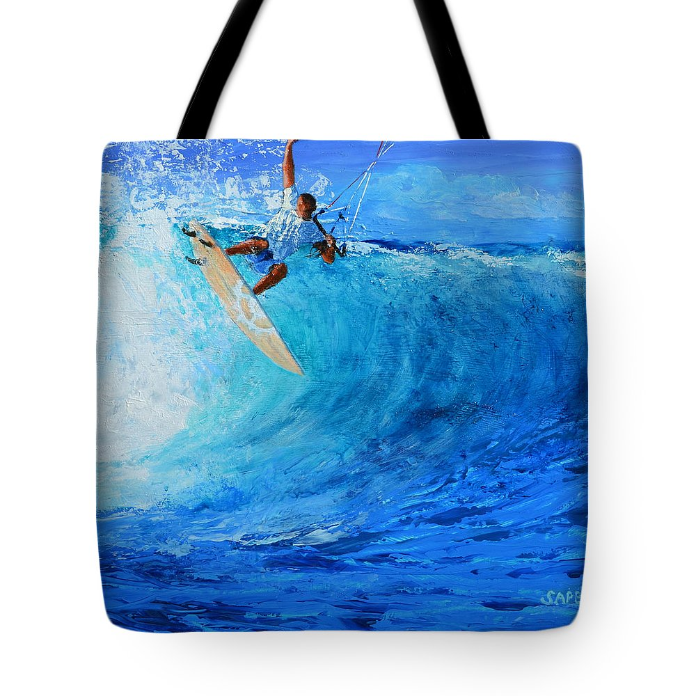 Kitesurfing Tote Bag featuring the painting Off the Lip by Lynee Sapere