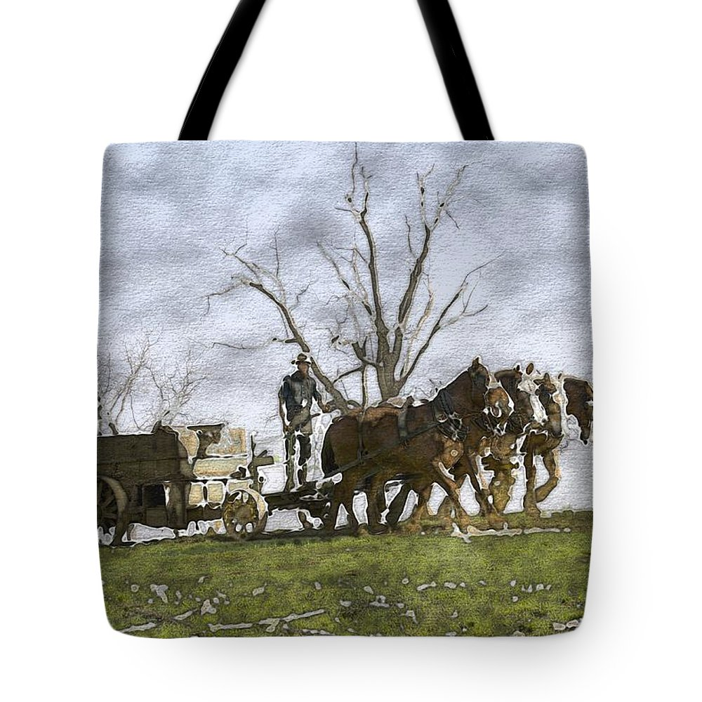 Horses Tote Bag featuring the photograph Off To The Field by Alice Gipson