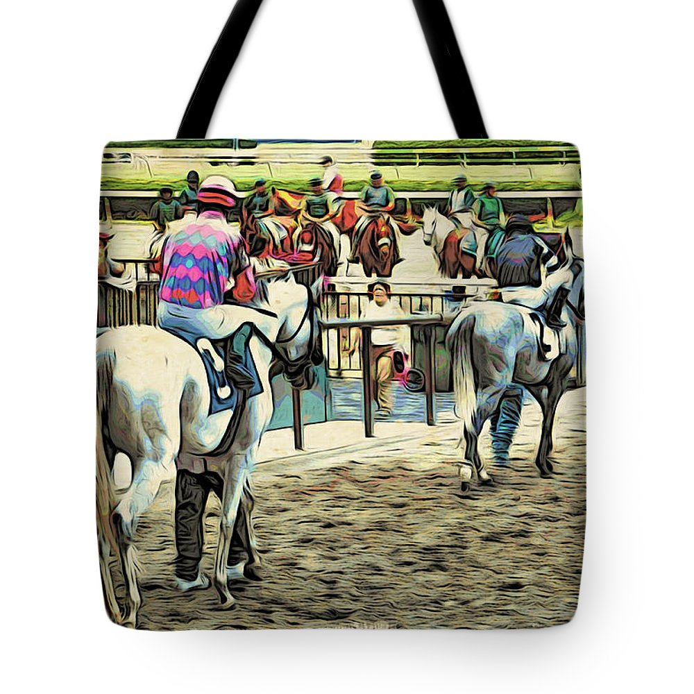 Horseracing Tote Bag featuring the photograph Off To The Race by Alice Gipson