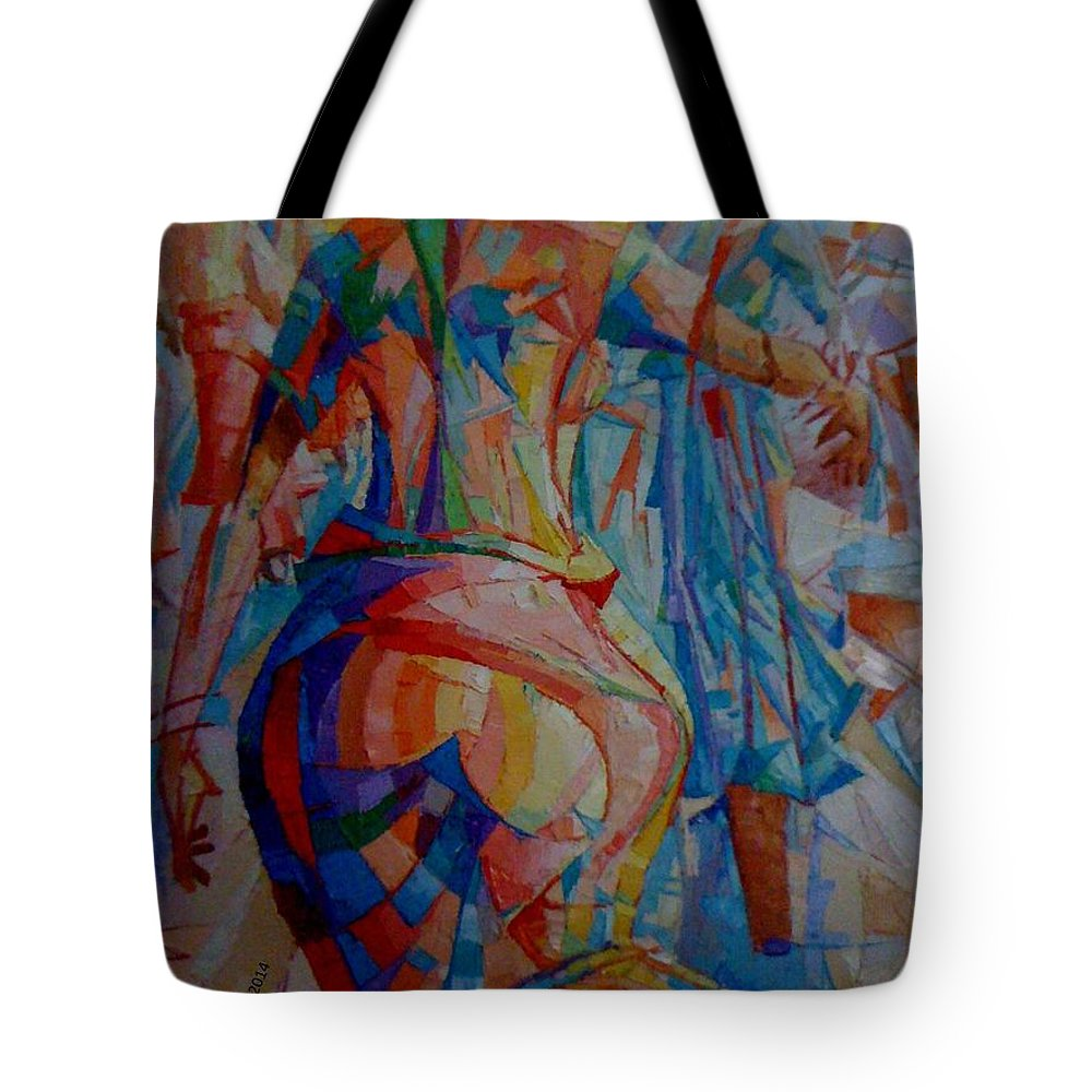 African Women Tote Bag featuring the painting 'oge Ilu' by Kayode Karunwi