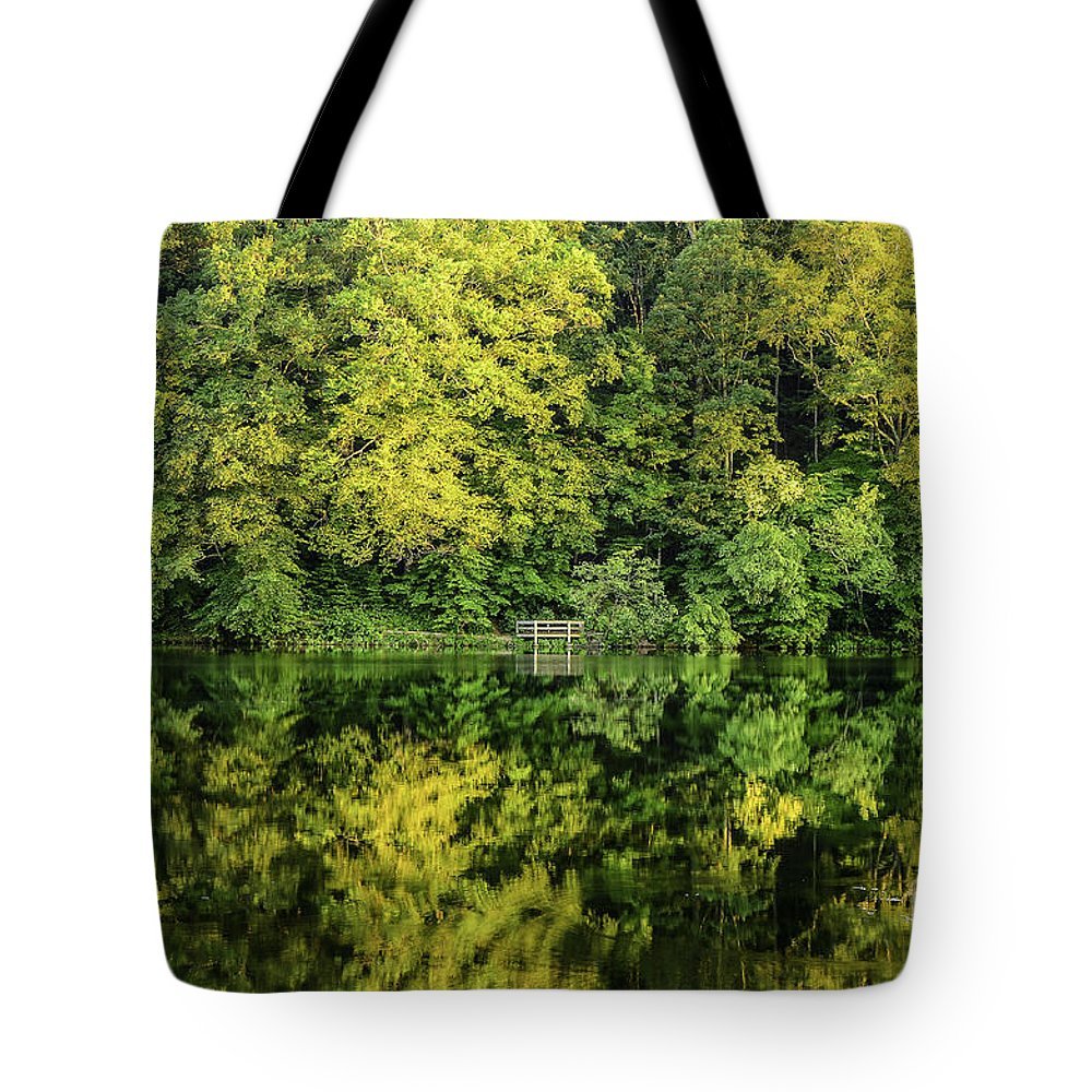 Tree Tote Bag featuring the photograph Ogle Lake Reflections 2 by Mary Carol Story