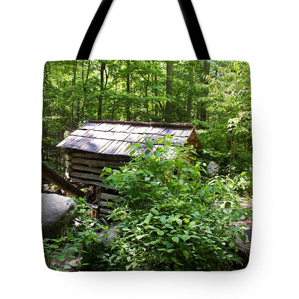 Ogle Tub Mill Roaring Fork Smoky Mountains Tote Bag featuring the photograph Ogle Tub Mill Roaring Fork Smoky Mountains by Cynthia Woods