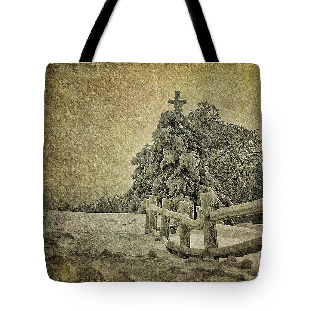 Tree Tote Bag featuring the photograph Oh Christmas Tree In Snow by Lois Bryan