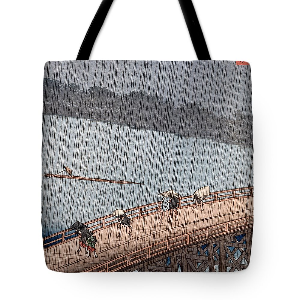 Ohashi Tote Bag featuring the painting Ohashi Sudden Shower At Atake by Ando Hiroshige
