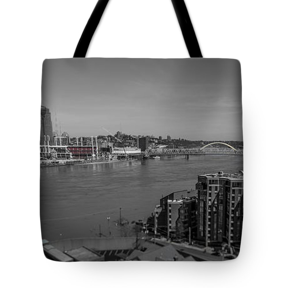 Cincinnati Tote Bag featuring the photograph Ohio River Flooding by Pat Burns
