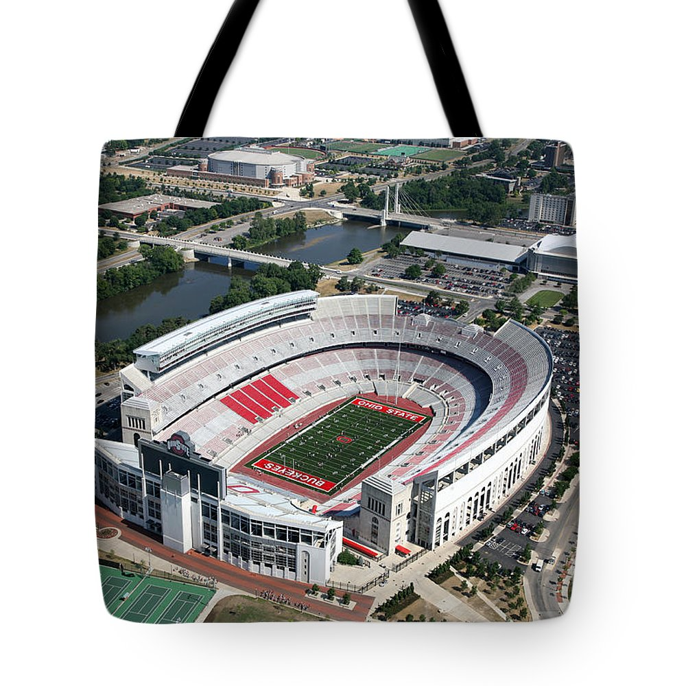 Columbus Tote Bag featuring the photograph Ohio Stadium Aerial by Bill Cobb