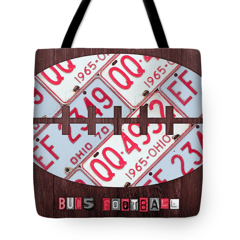 Ohio Tote Bag featuring the mixed media Ohio State Buckeyes Football Recycled License Plate Art by Design Turnpike