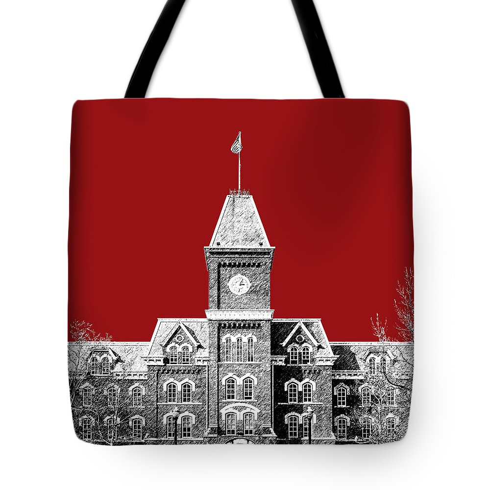 University Tote Bag featuring the digital art Ohio State University - Dark Red by DB Artist