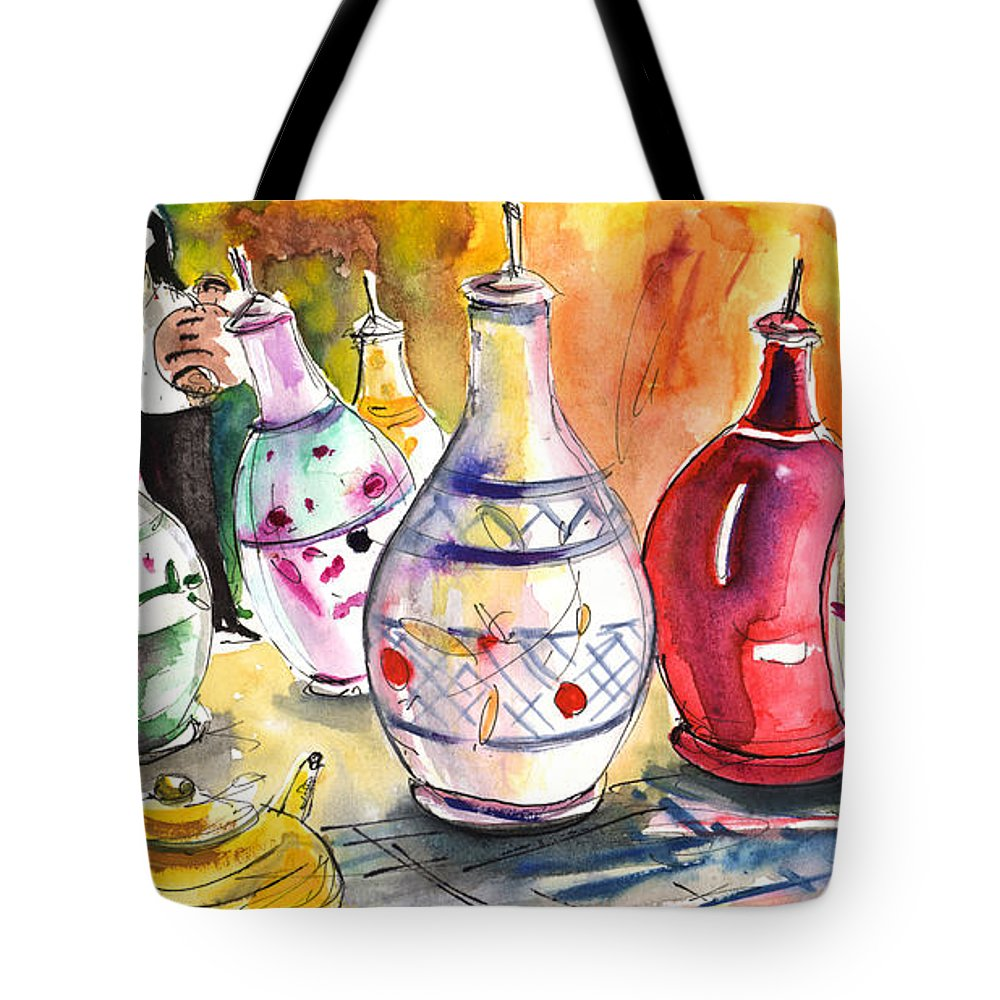 Travel Tote Bag featuring the painting Oil Dispensers From Taormina by Miki De Goodaboom