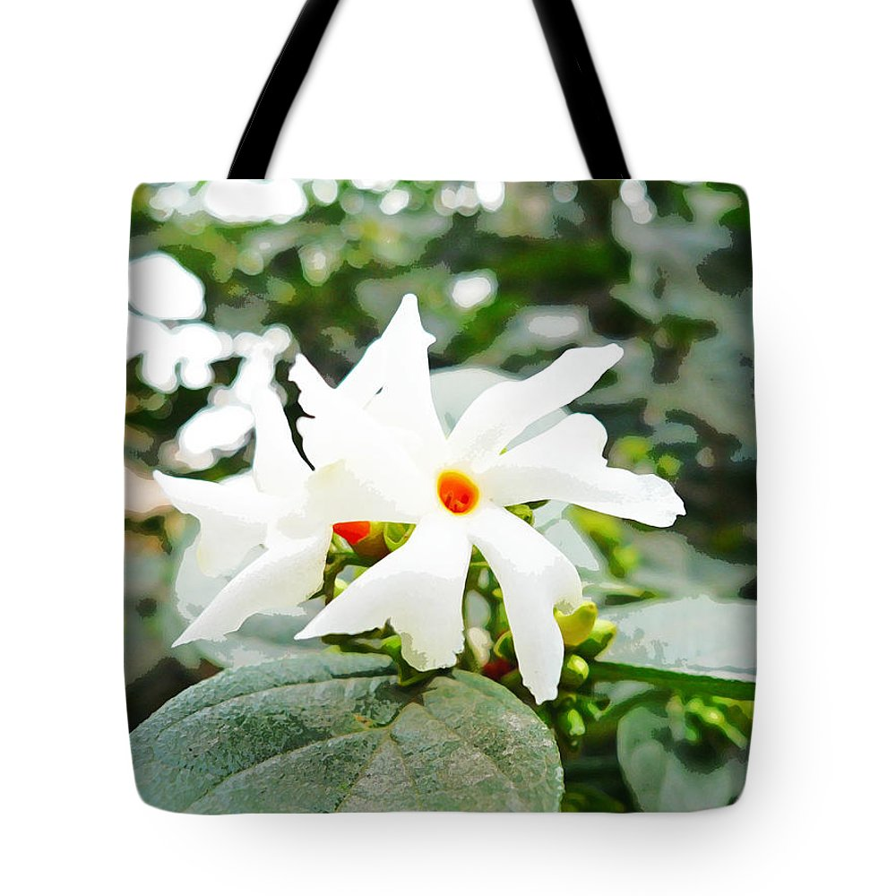 Oil Painting Beautiful White Flower With Orange Center Tote Bag