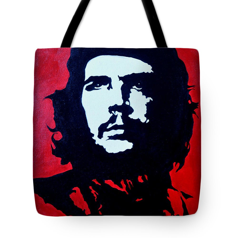 Oil Painting Tote Bag featuring the painting Original Oil Painting Art -ernesto Guevara#16-2-5-30 by Hongtao Huang