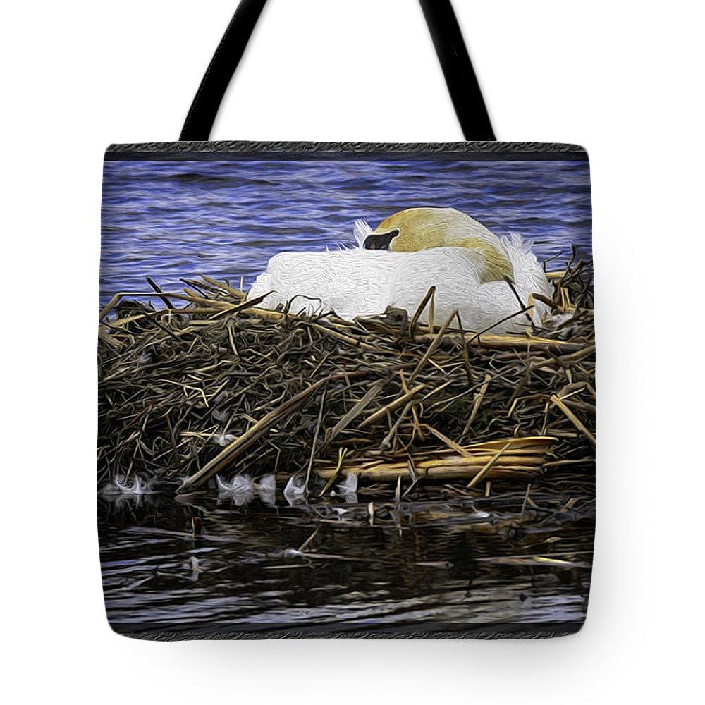 Usa Tote Bag featuring the photograph Oil Painting Nesting Swan Michigan by LeeAnn McLaneGoetz McLaneGoetzStudioLLCcom