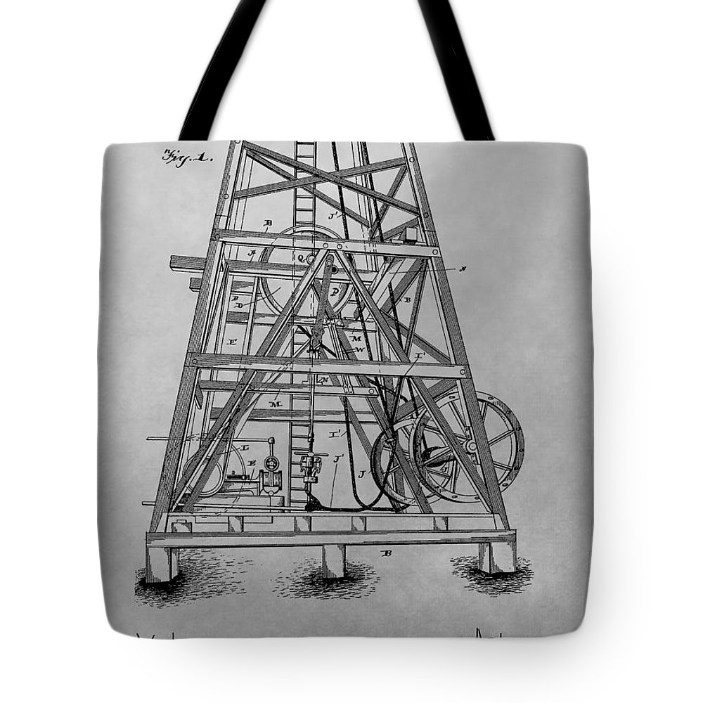 Oil Rig Patent Drawing Tote Bag