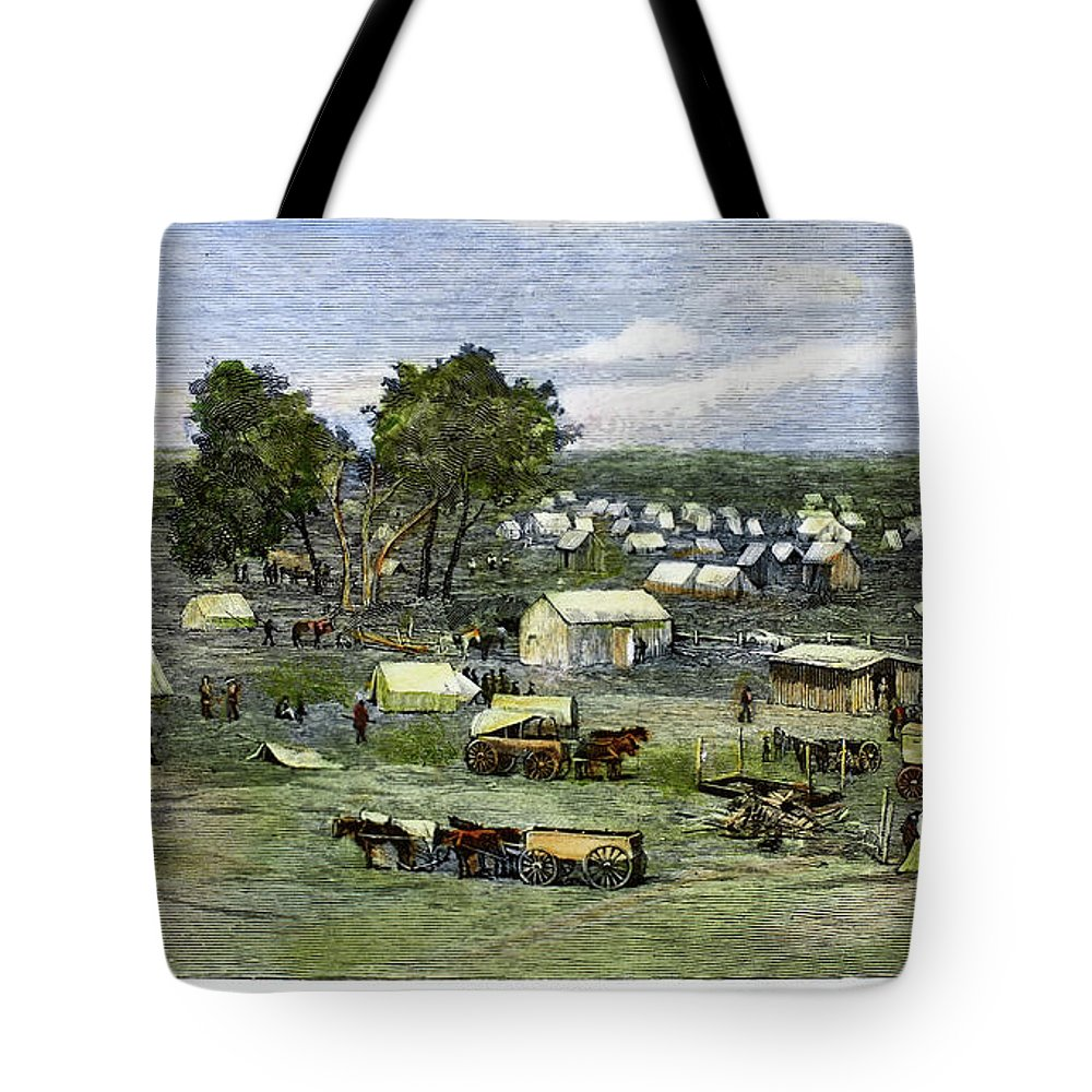 1889 Tote Bag featuring the painting Oklahoma City, 1889 by Granger