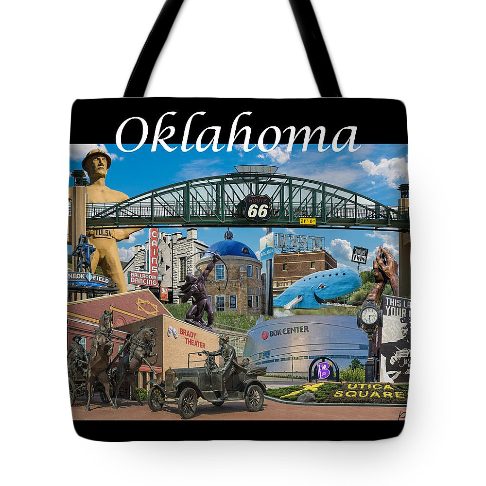 Oklahoma Tote Bag featuring the photograph Oklahoma Collage With Words by Roberta Peake