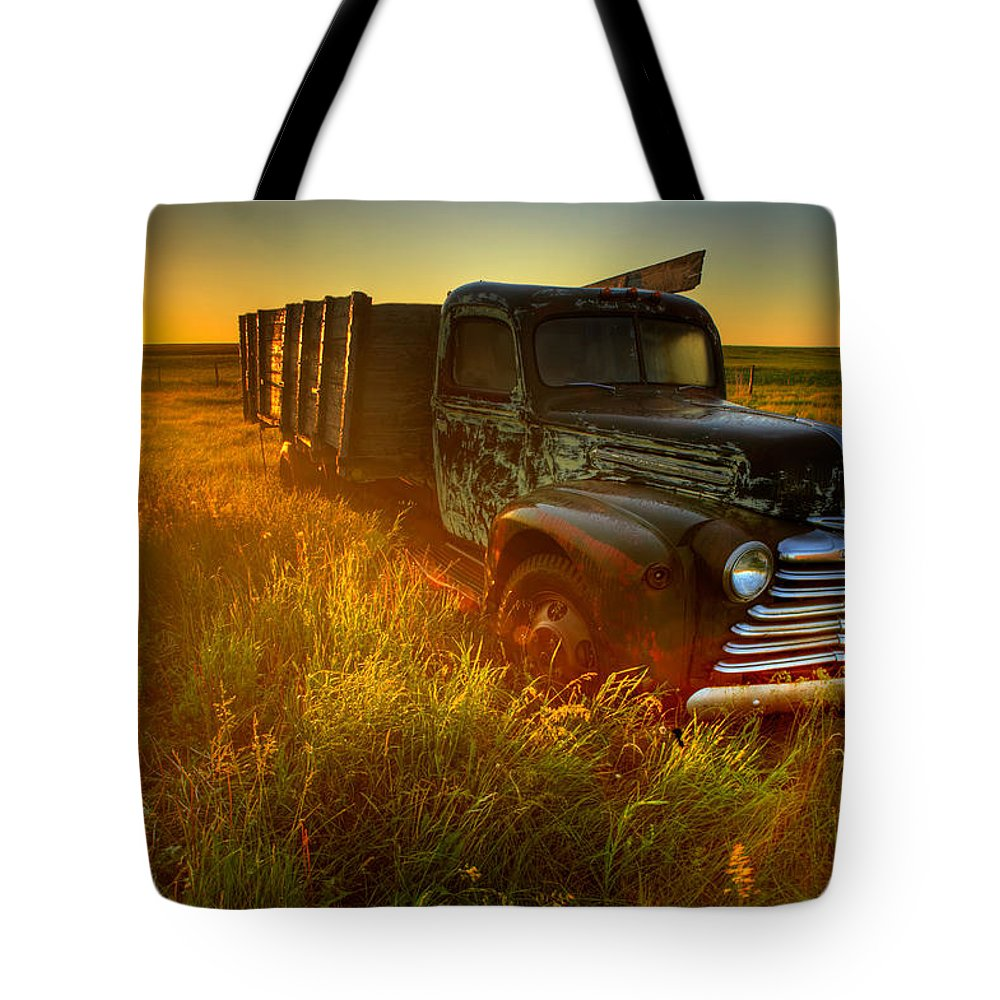 Light Tote Bag featuring the photograph Old Abandoned Farm Truck by Gemstone Images