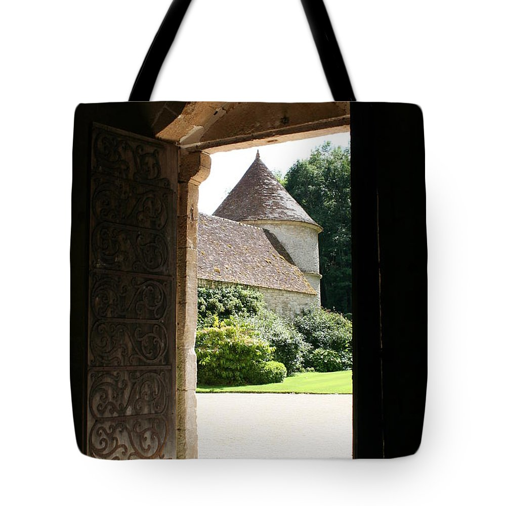 Minster Tote Bag featuring the photograph Old Abbey Church Door - Abbey Fontenay by Christiane Schulze Art And Photography