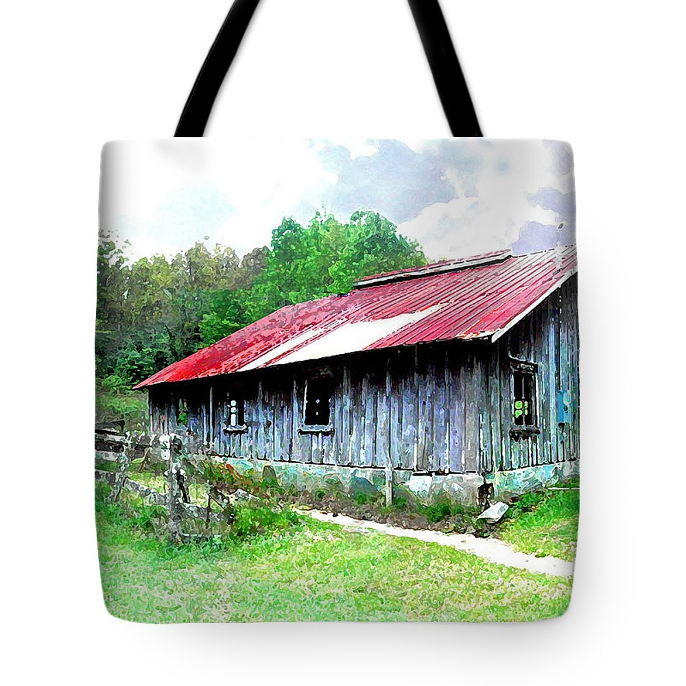 Barns Tote Bag featuring the photograph Old Barn Along Golden Road Filtered by Duane McCullough