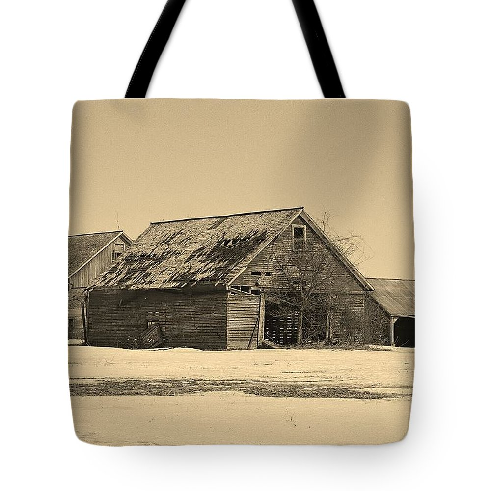 Old Tote Bag featuring the photograph Old Barn by Dan Young