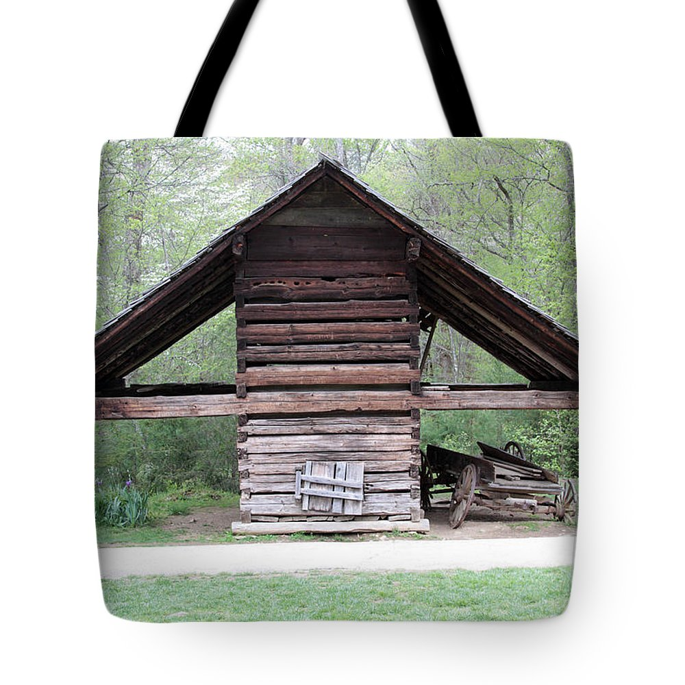 Old Barn Tote Bag featuring the photograph Old Barn In The Woods by Dwight Cook