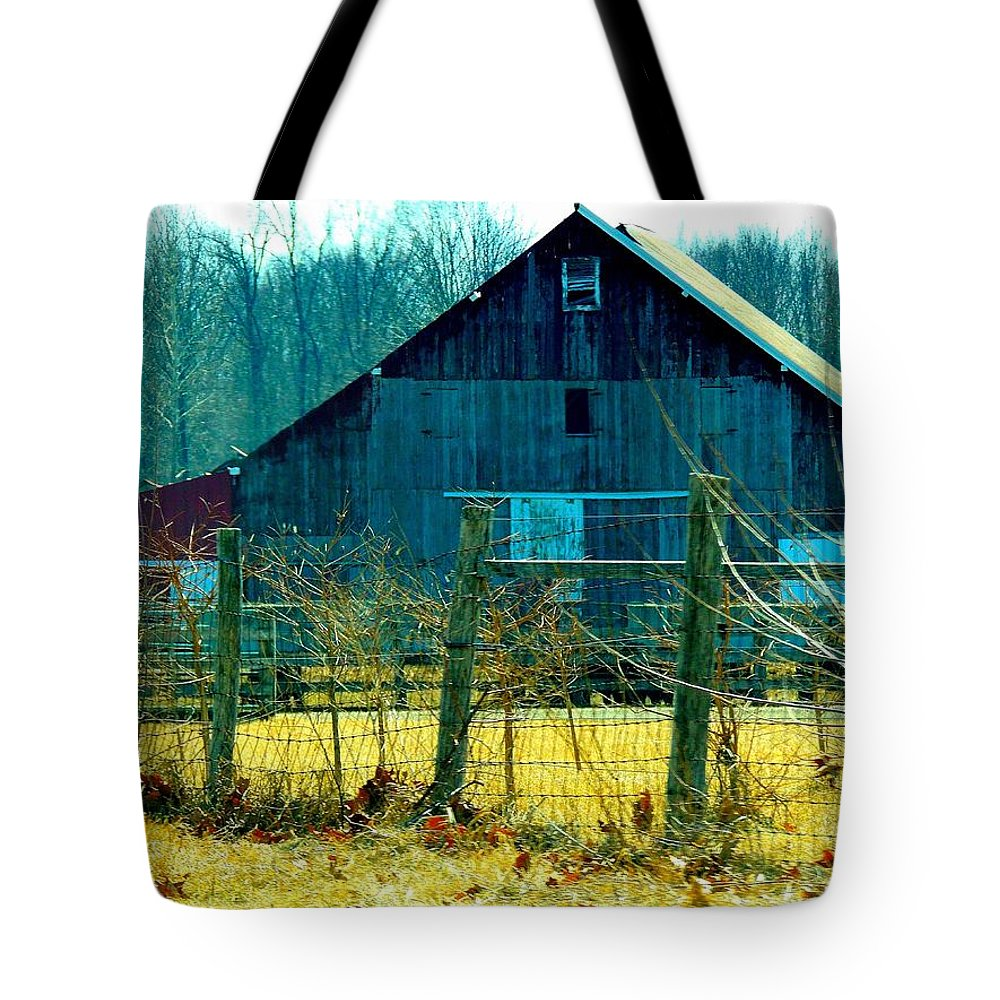 Barns Tote Bag featuring the photograph Old Barn by Nancy Wagener