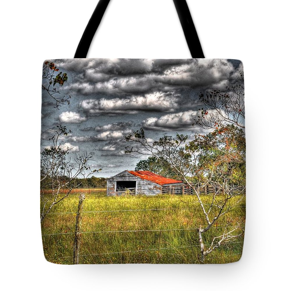 Old Tote Bag featuring the photograph Old Barn by Savannah Gibbs