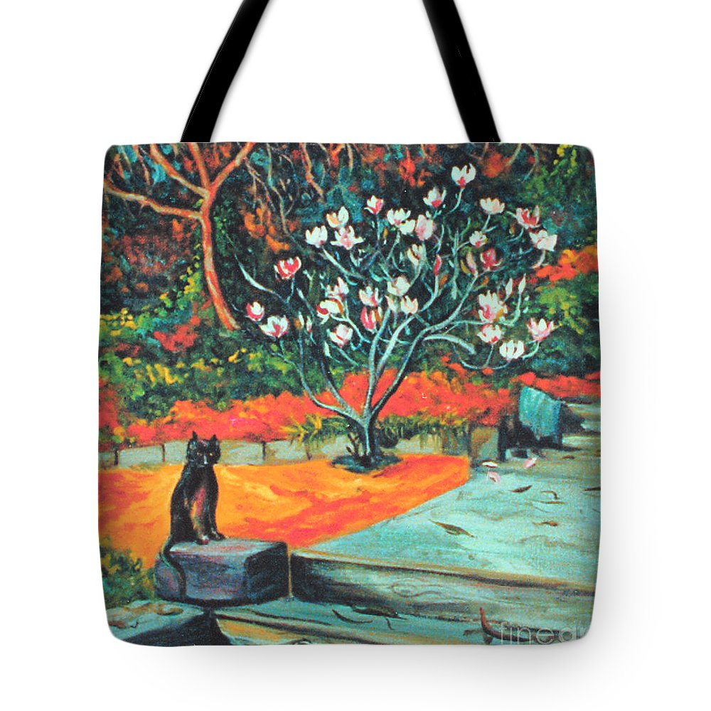 Garden Landscape Painting Tote Bag featuring the painting Old Bear Cat And Blooming Magnolia Tree by Asha Carolyn Young