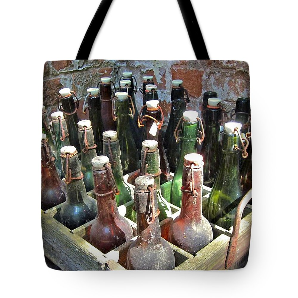 Beer Tote Bag featuring the photograph Old Beer Bottles by Emma Motte