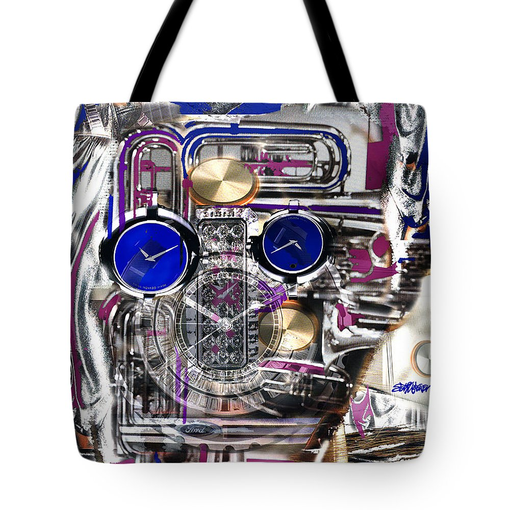 Robotic Time Traveller Tote Bag featuring the digital art Old Blue Eyes by Seth Weaver