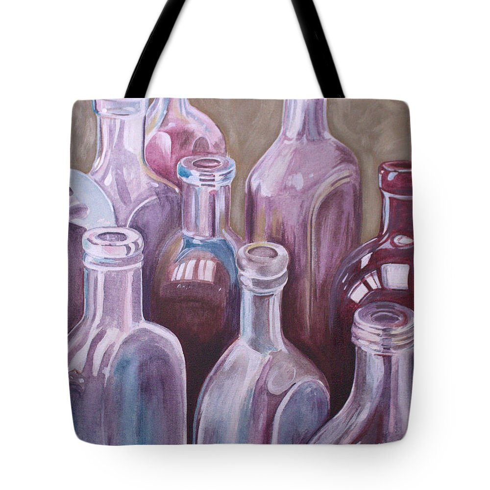 Still Life Tote Bag featuring the painting Old Bottles by Kathy Weidner