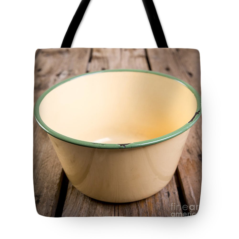Plate Tote Bag featuring the photograph Old Bowl by Tim Hester