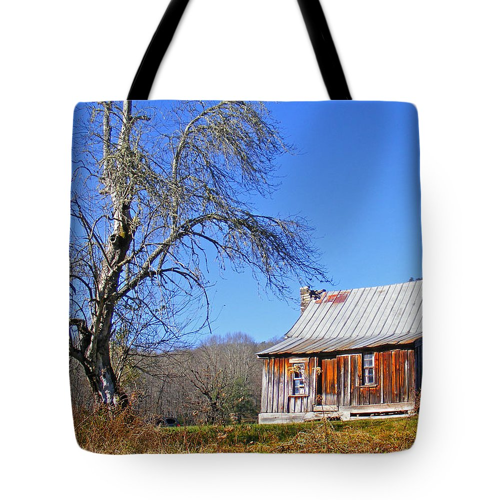 Cabins Tote Bag featuring the photograph Old Cabin And Tree by Duane McCullough