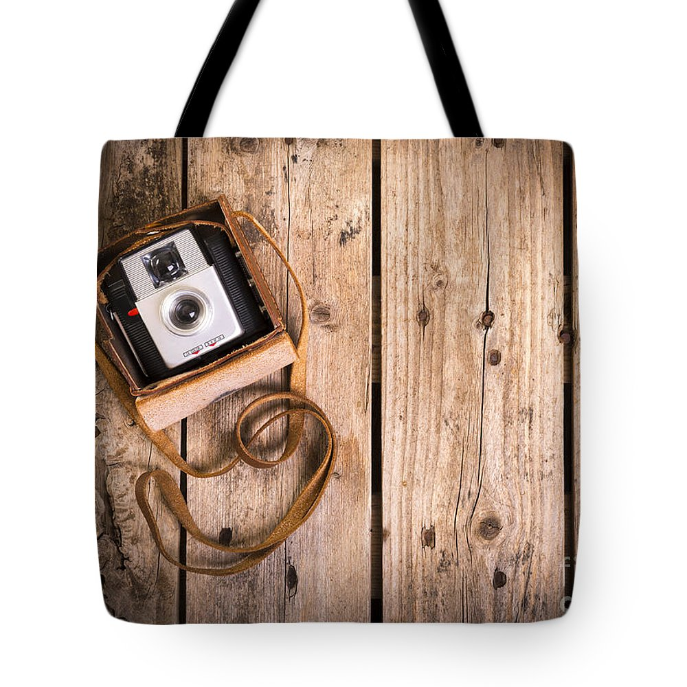 Camera Tote Bag featuring the photograph Old Camera by Tim Hester