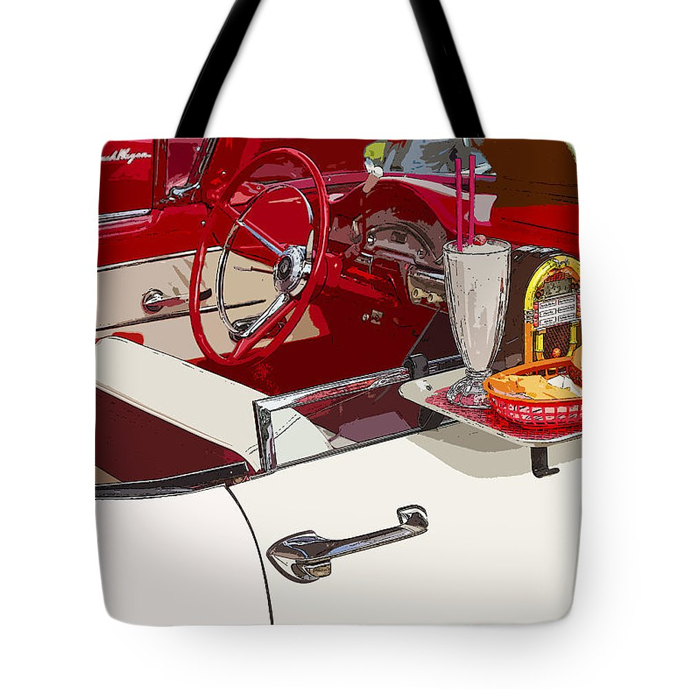 Drive-in Tote Bag featuring the photograph Old Car At Drive In Restaurant by Keith Webber Jr