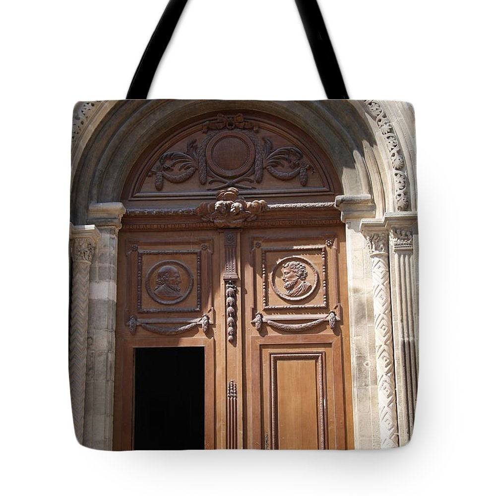 Door Tote Bag featuring the photograph Old Church Door Cathedral Autun by Christiane Schulze Art And Photography