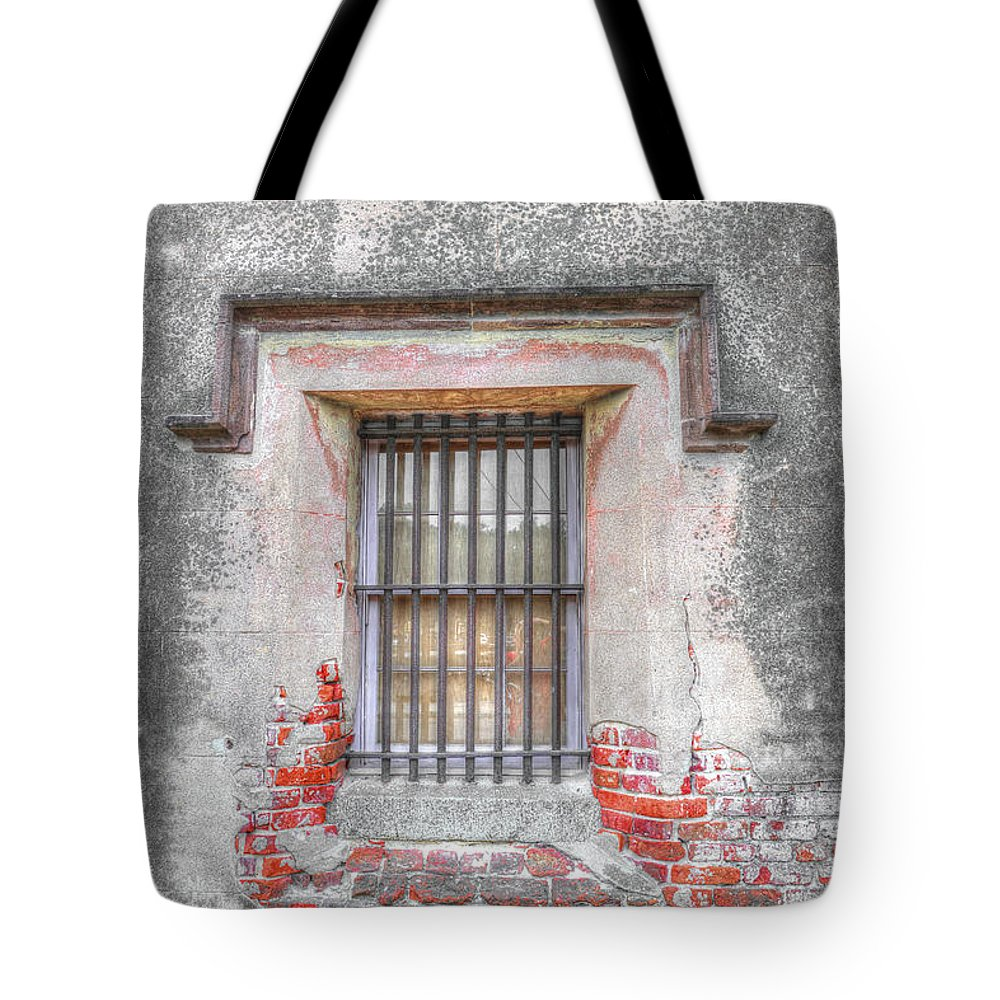 Old City Jail Window Tote Bag featuring the photograph The Old City Jail Window Chs by Dale Powell