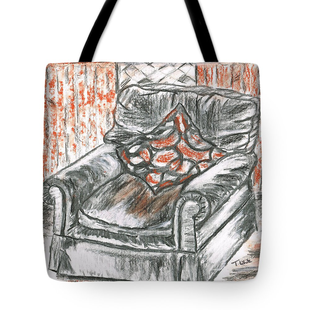 Teresa White Old Tote Bag featuring the drawing Old Cozy Chair by Teresa White
