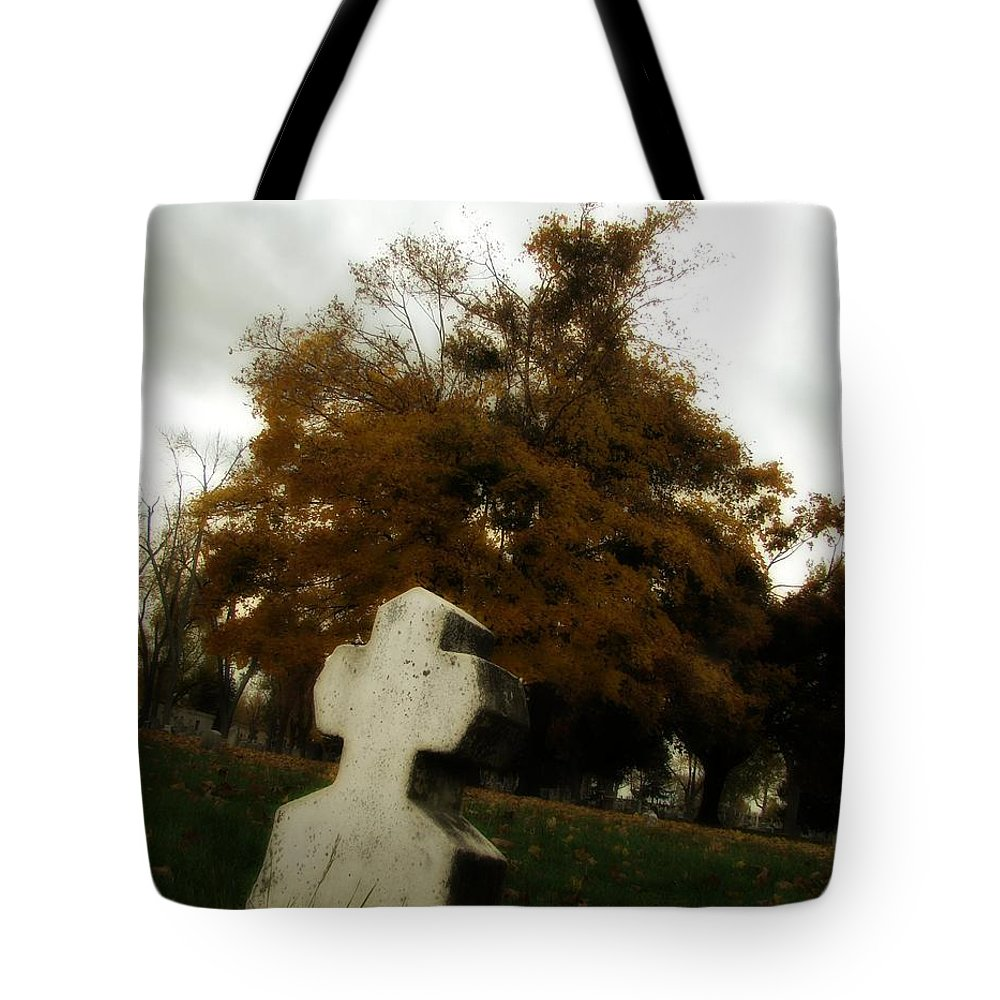 Old Cross Tote Bag featuring the photograph Old Crooked Cross by Gothicrow Images