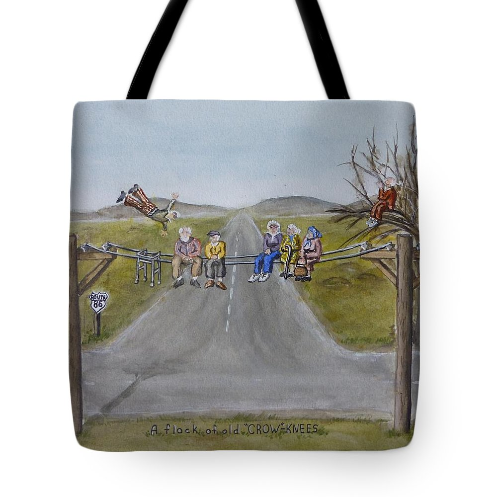 Crows Tote Bag featuring the painting Old Crowknees Fly South by Kelly Mills
