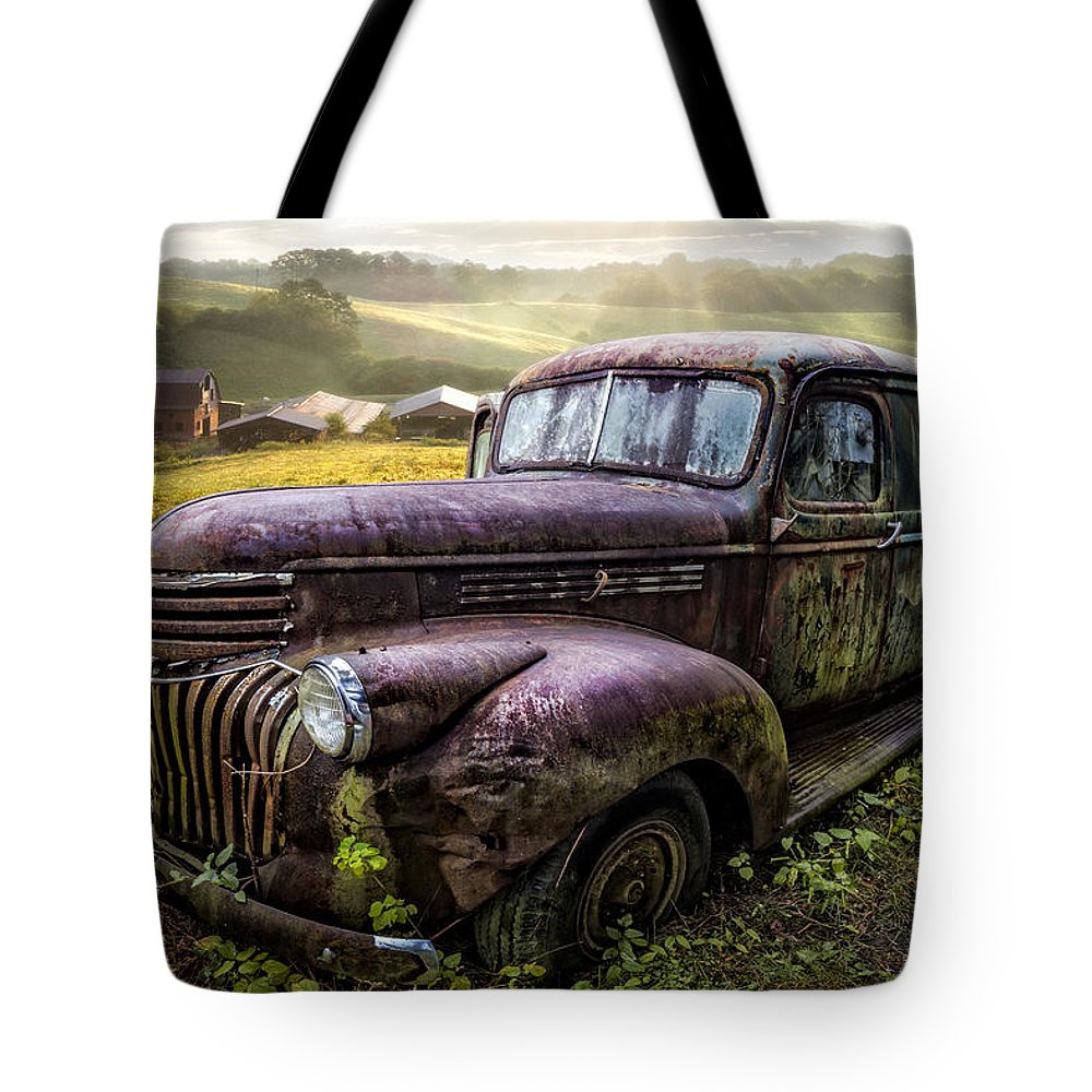 1930s Tote Bag featuring the photograph Old Dairy Farm Truck by Debra and Dave Vanderlaan