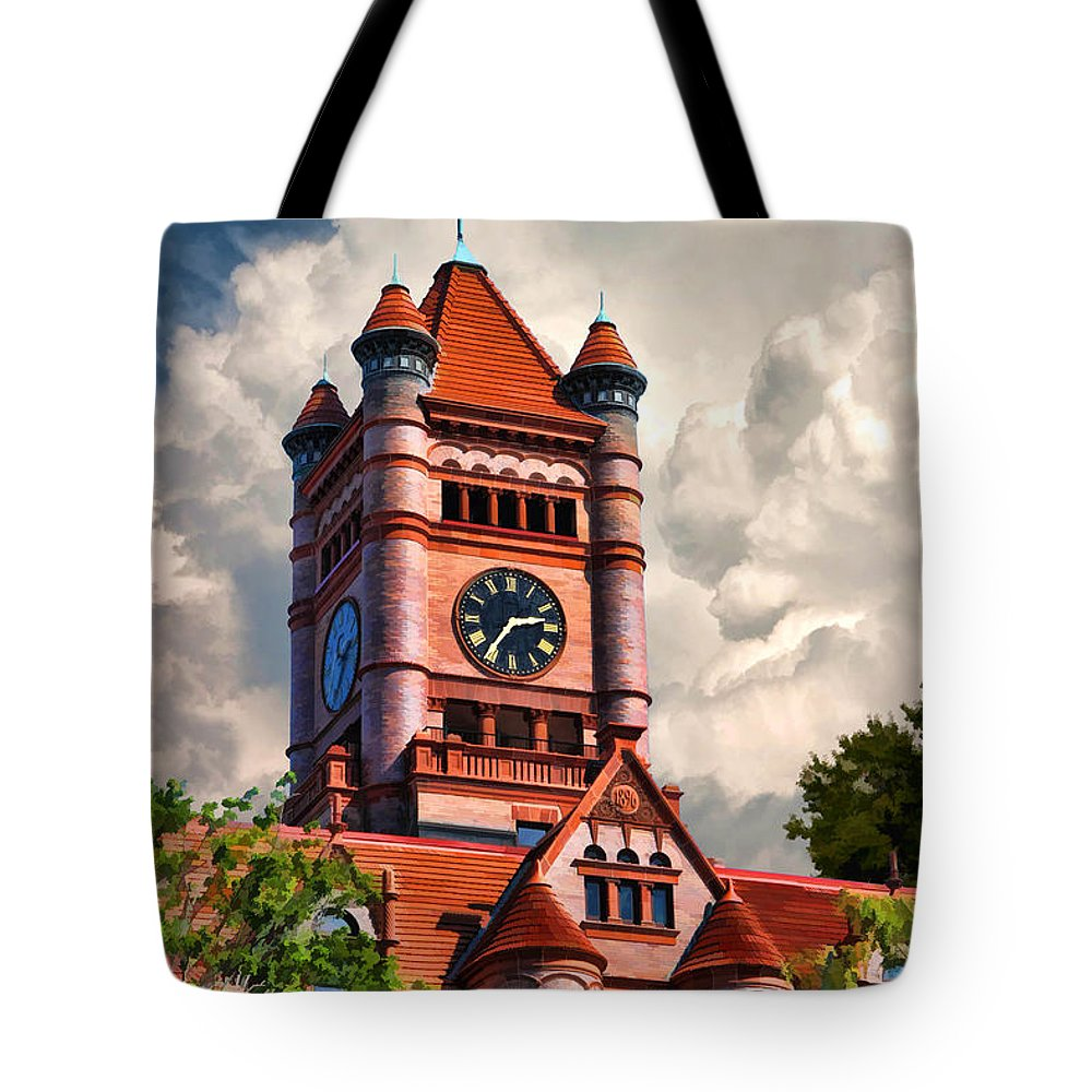 Wheaton Tote Bag featuring the painting Old Dupage County Courthouse Clouds by Christopher Arndt